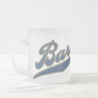 Barons Script 10 Oz Frosted Glass Coffee Mug