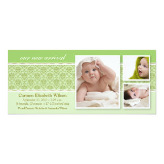 Baroque 3-Photo Birth Announcement (green)