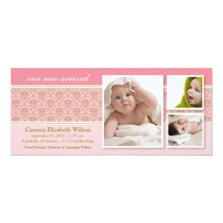 Baroque 3-Photo Birth Announcement (pink)