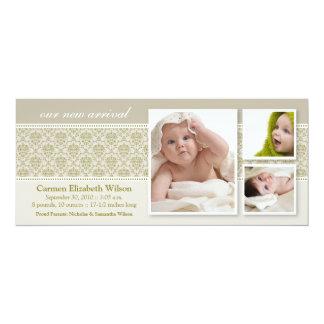 Baroque 3-Photo Birth Announcement (taupe)