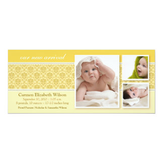 Baroque 3-Photo Birth Announcement (yellow)