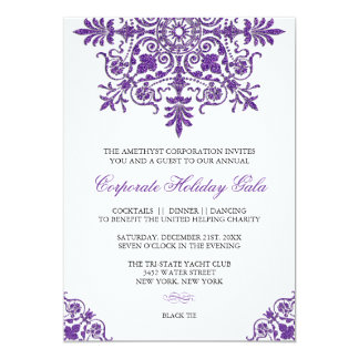Baroque Amethyst Glitter Look Holiday Party Card