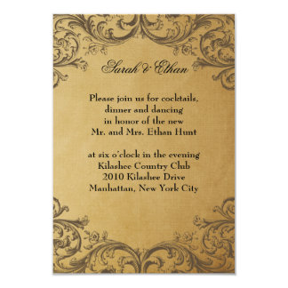 Baroque Antique Gold Wedding Reception Cards