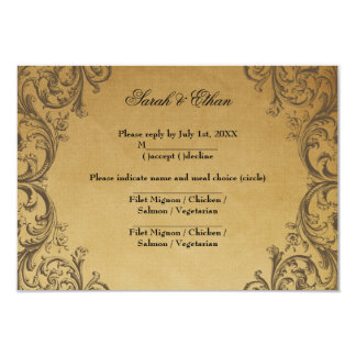 Baroque Antique Gold Wedding RSVP Cards