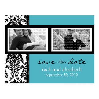 Baroque Aqua-Black-White 2-Photo Save the Date Postcard
