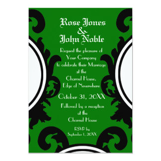 Baroque Black (Green) Wedding Invitation