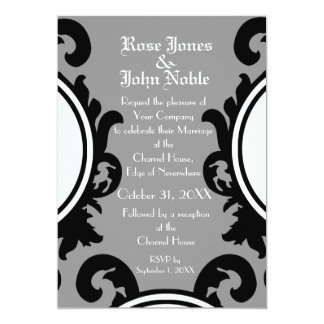 Baroque Black (Grey) Wedding Invitation