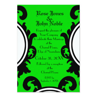 Baroque Black (Lime) Wedding Invitation