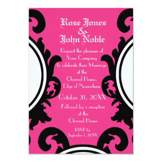 Baroque Black (Magenta) Wedding Invitation