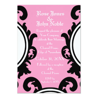 Baroque Black (Pink) Wedding Invitation