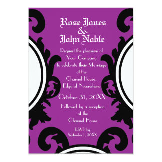 Baroque Black (Purple) Wedding Invitation