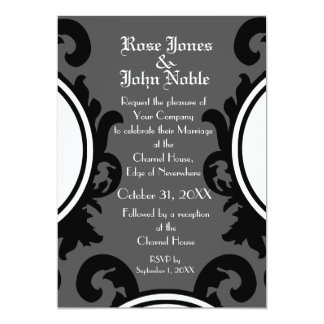 Baroque Black (Smoke) Wedding Invitation