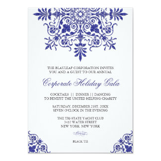 Baroque Cobalt Blue Glitter Look Holiday Party Card