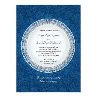 Baroque Cobalt Plaque Wedding Invitation