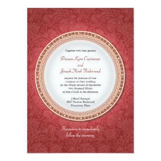 Baroque Crimson Plaque Wedding Invitation