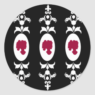 Baroque Damask Cameo Classic Round Sticker
