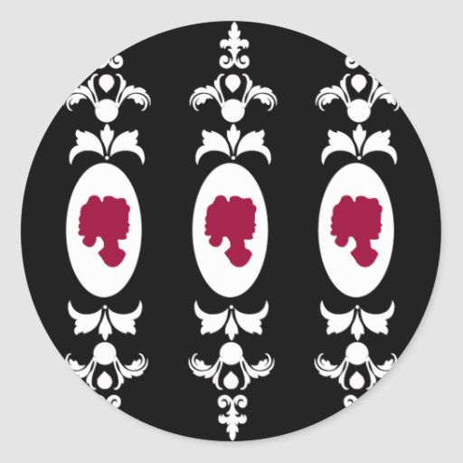 Baroque Damask Cameo Round Stickers