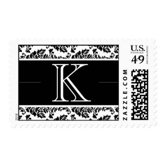 Baroque Damask Monogram K Wedding Stamp