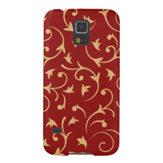Baroque Design Gold on Red Case For Galaxy S5