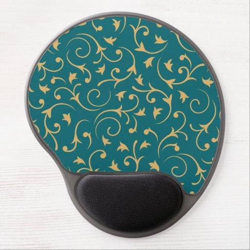 Baroque Design – Gold on Teal Gel Mouse Mats