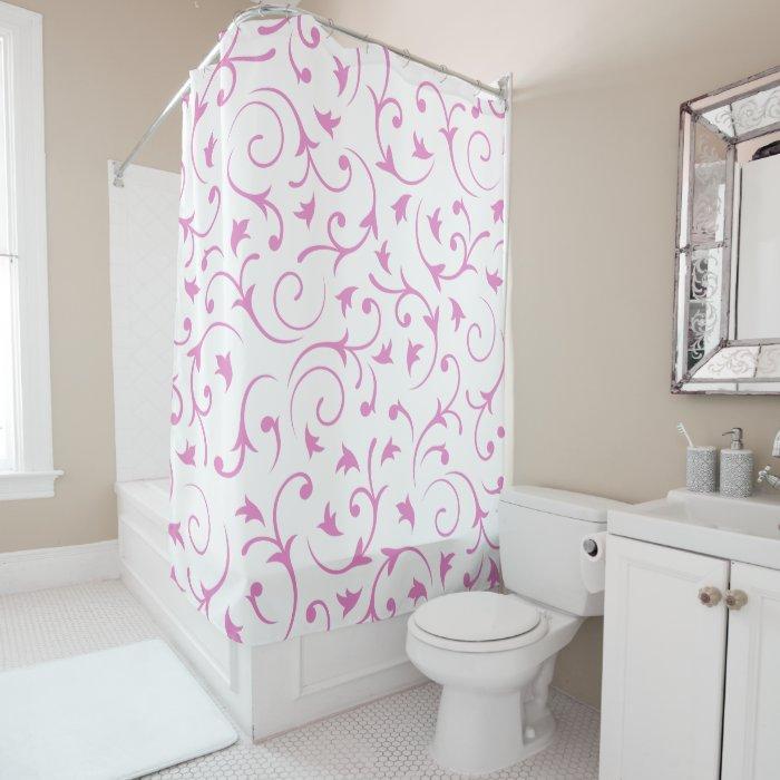 Baroque Design Pink White Shower Curtain Zazzle
