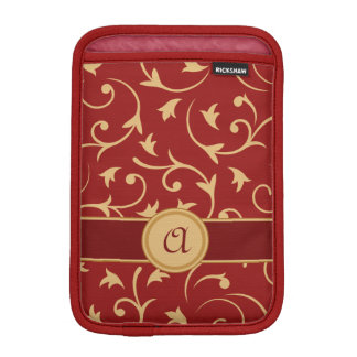 Baroque Design with Personalised Band Red & Gold iPad Mini Sleeve