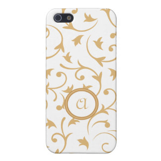 Baroque Design with Personalised Disc Gold & White iPhone SE/5/5s Cover