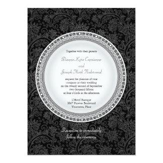 Baroque Ebony Plaque Wedding Invitation