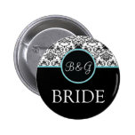 Baroque Elegance Bride Button-Aqua