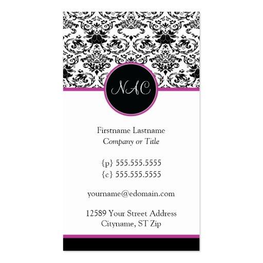 Baroque Elegance  Business Card (Hot Pink)