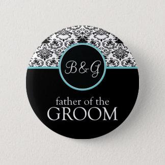 Baroque Elegance Father of the Groom-Aqua Pinback Button