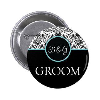 Baroque Elegance Groom Button-Aqua Button