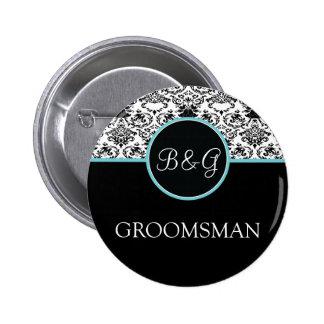 Baroque Elegance Groomsman Button-Aqua Pinback Button