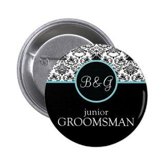 Baroque Elegance Junior Groomsman Button-Aqua Pinback Button