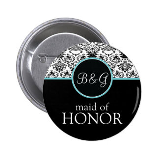 Baroque Elegance Maid of Honor Button-Aqua Pinback Button