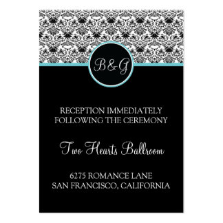 Baroque Elegance Reception Card Aqua Accent Large Business Cards (Pack Of 100)