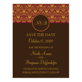 Baroque Elegance Save The Date 1a Postcard