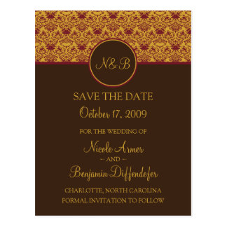 Baroque Elegance Save The Date 2a Postcard