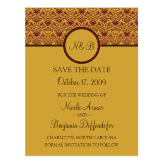 Baroque Elegance Save The Date 5 Postcard