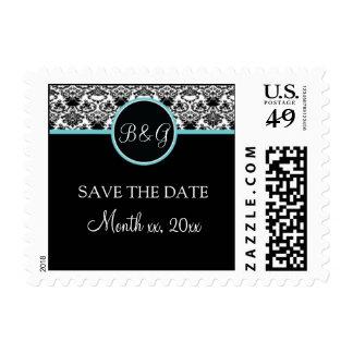 Baroque Elegance Save The Date (Aqua)  Small Postage