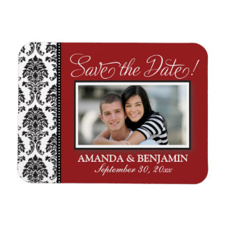 Baroque Elegance Save the Date Magnet (red)