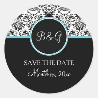 Baroque Elegance Save The Date Sticker-Aqua Classic Round Sticker