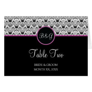 Baroque Elegance Table 2 Cards  (Hot Pink)
