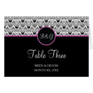 Baroque Elegance Table 3 Cards  (Hot Pink)
