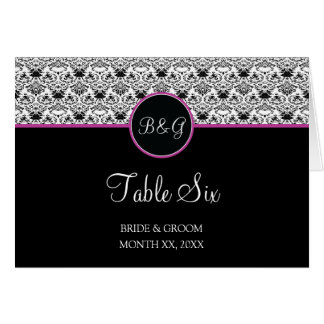 Baroque Elegance Table 6 Cards  (Hot Pink)