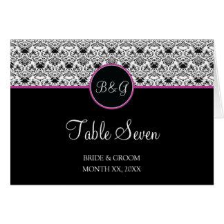 Baroque Elegance Table 7 Cards  (Hot Pink Stripe)