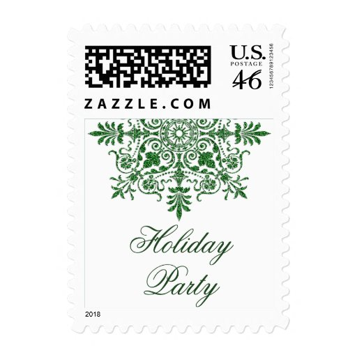 Baroque Faux Glitter Green Holiday Party Postage Stamps