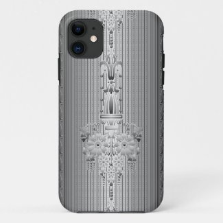 Baroque floral pattern with border grey iPhone 11 case