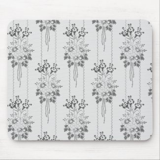 Baroque floral pattern with border grey mouse pad
