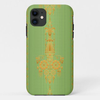 Baroque floral pattern with border V2020 iPhone 11 Case